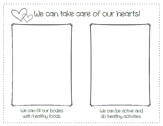 We Can Take Care Of Our Hearts Heart Health Month Activity – Health Worksheets for Kindergarten