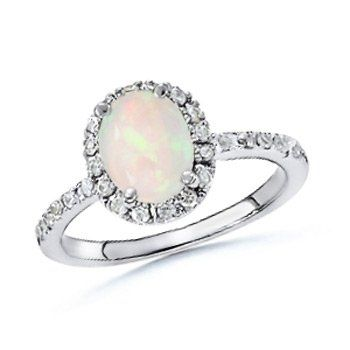 Angara Classic Round Cabochon Opal Solitaire Ring - October Birthstone Ring