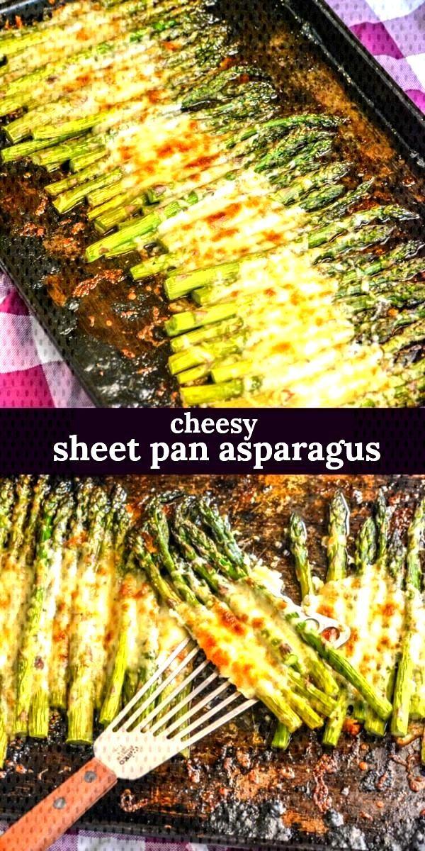asparagus recipes Looking for a new way to fix asparagus This Garlic Roasted Cheesy Sheet Pan Aspar
