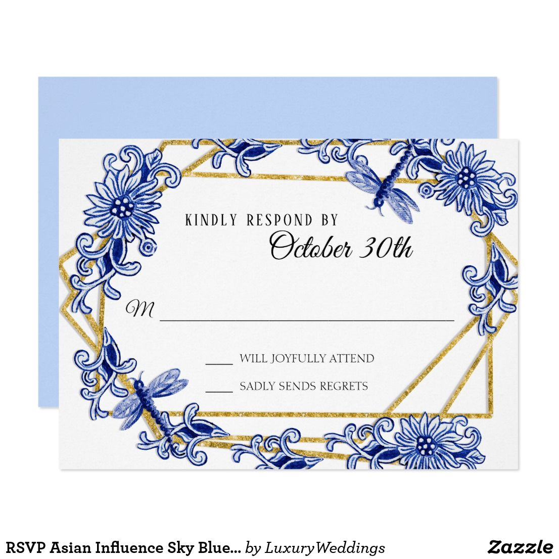 Rsvp Asian Influence Sky Blue Floral Watercolor Invitation