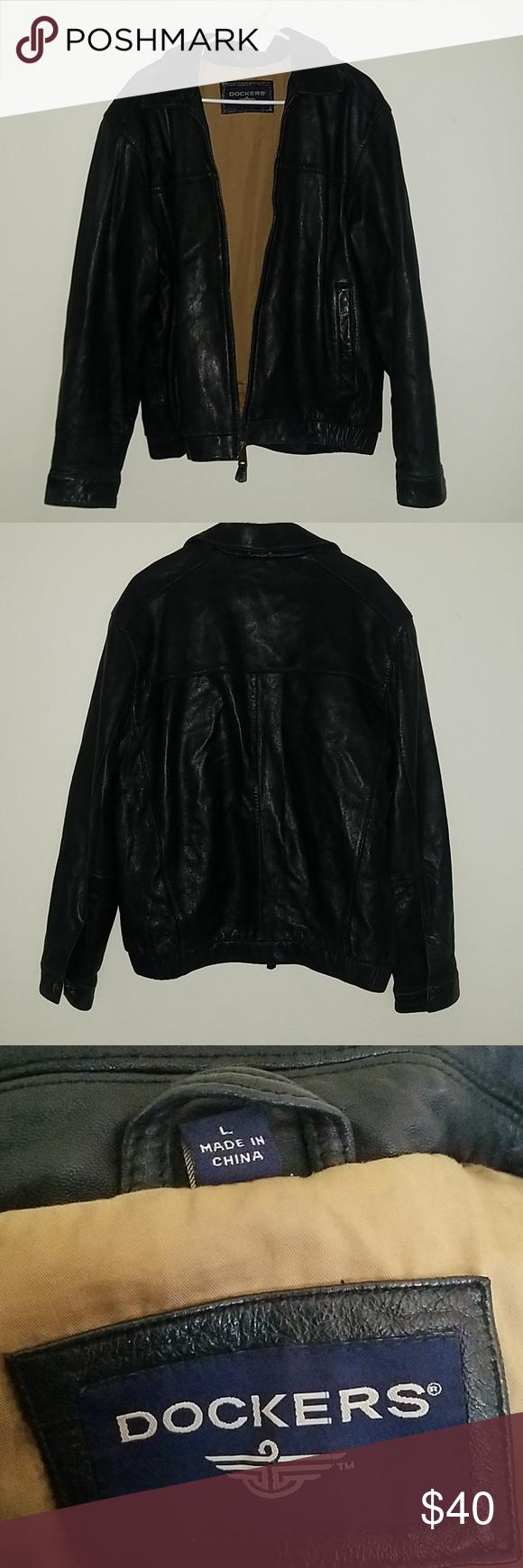 Dockers Mens Leather Jacket Leather jacket, Men's