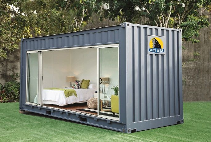 Shipping Container Homes 20 Foot Shipping Container Outdoor Room By Royal Wolf Container House Building A Container Home Container House Plans