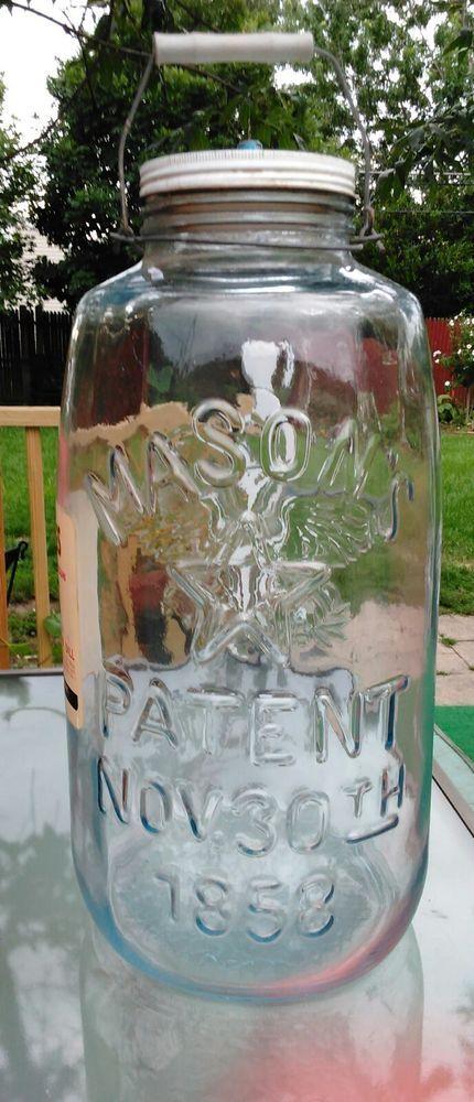 Vintage Large 5 Gallon Mason X27 S Patent Eagle Star Pickle Jar With Lid And Handle Nov 30 1858 Has Original Cates Premium Processed Kosher