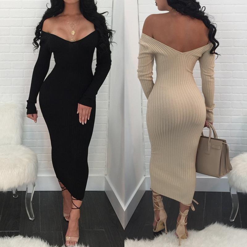 2434c14463 Rib-knit Off Shoulder Maxi Bodycon Dress | Mrs.No Shade Wade in 2019 ...