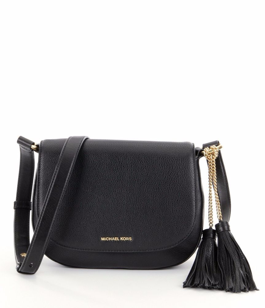 89774ae2ebb7e6 New Michael Kors Elyse Large Leather Saddle Crossbody Bag Black Retail $  298 #MichaelKors #MessengerCrossBody