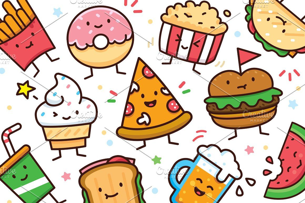 Food Doodle Toolkit With Images Food Doodles Cute Food
