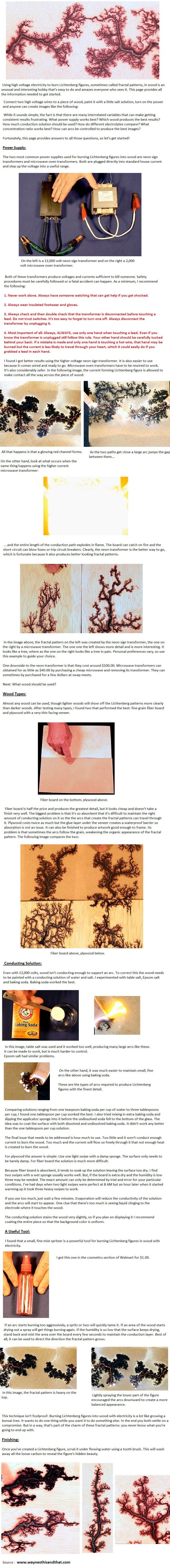 fractal lichtenberg figure wood burning with electricity by