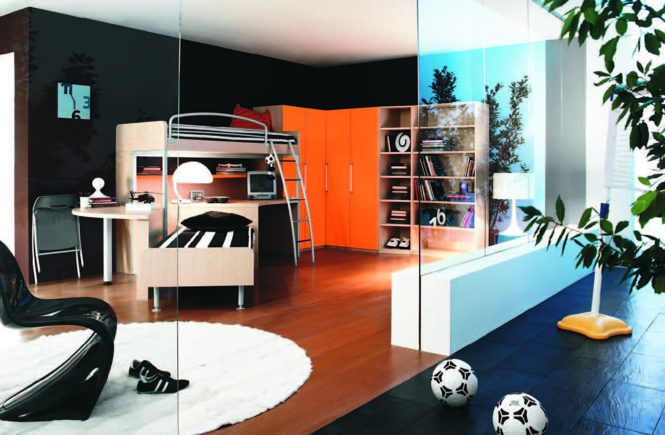 Super Modern Kids Room With Glass Walls Kid And Teen Room - Boys room paint ideas stripes sports