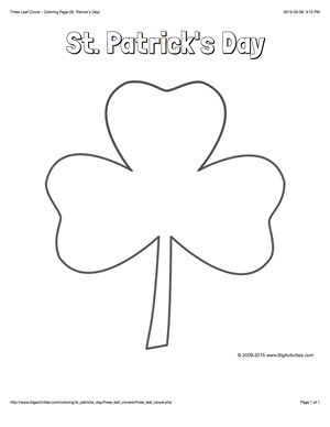 St. Patrick's Day coloring page with a three leaf clover