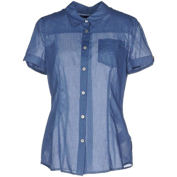 Armani Jeans Shirt (2 235 UAH) ❤ liked on Polyvore featuring tops, pastel blue, logo shirts, armani jeans, short sleeve cotton tops, blue short sleeve top and blue cotton shirt