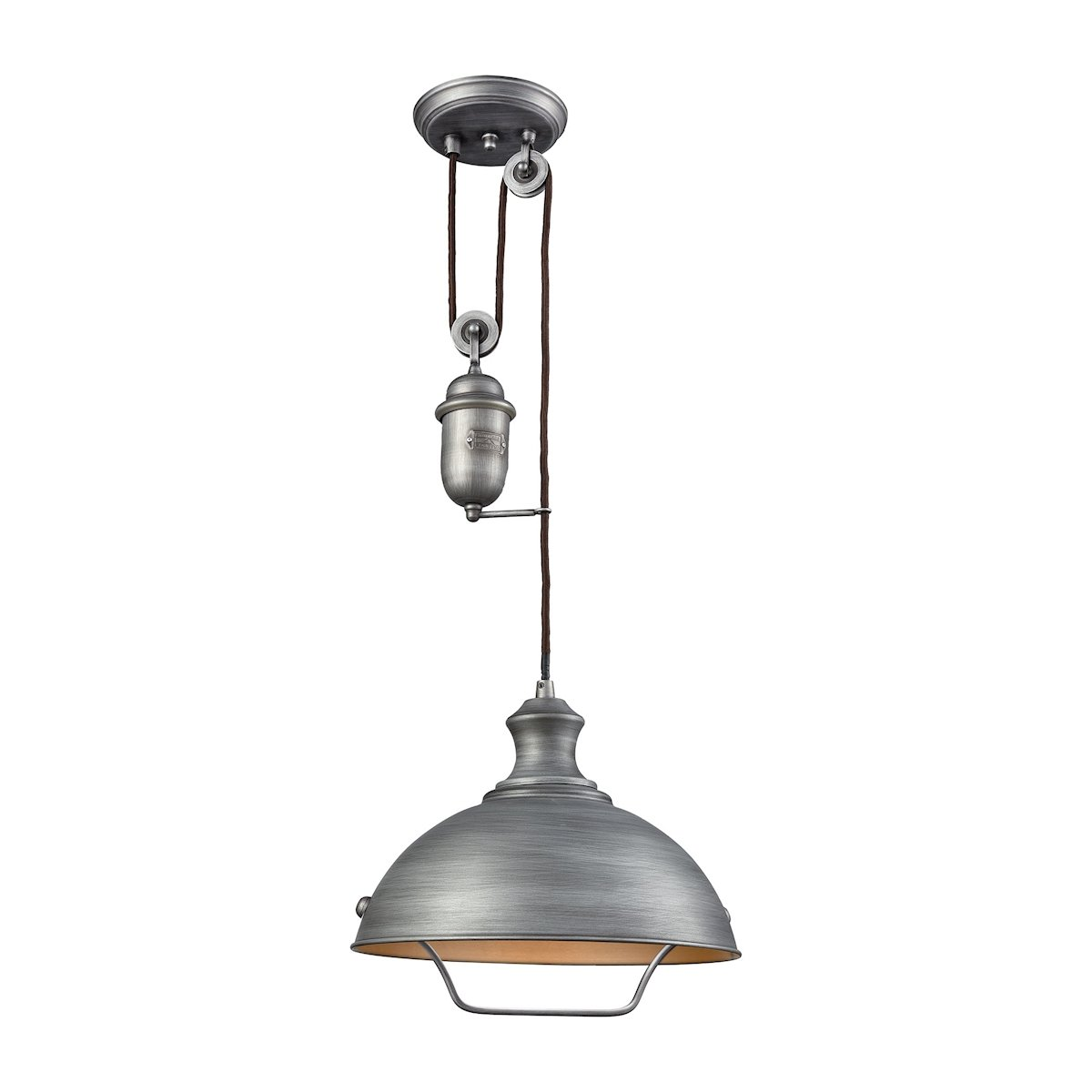 Farmhouse 1 Light Pulldown Pendant In Weathered Zinc By Elk