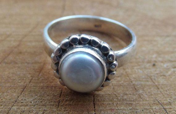 925 sterling silver ring genuine pearl silver di silveringjewelry