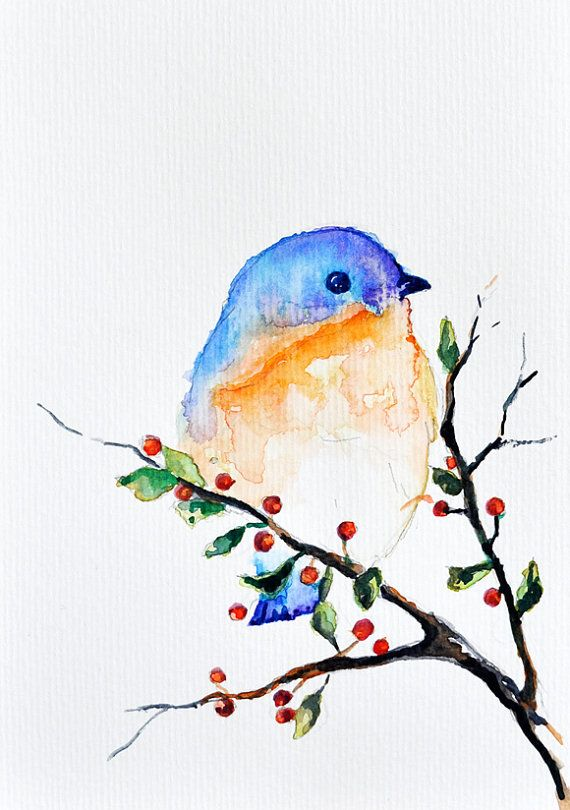 Bird in a spring tree Art Print  Watercolor Print  Room Decor  Giclee Print 5x7 inch