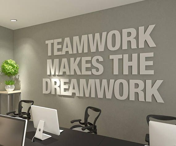 Teamwork Makes The Dreamwork 3d Office Wall Art Typography Etsy Office Wall Design Office Quotes Office Wall Art