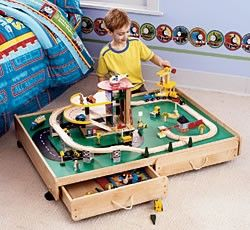 Under The Bed Train Table With Drawers Shop Family Kids Parenting Kaboodle Big Boy Room Train Table Kids Playroom