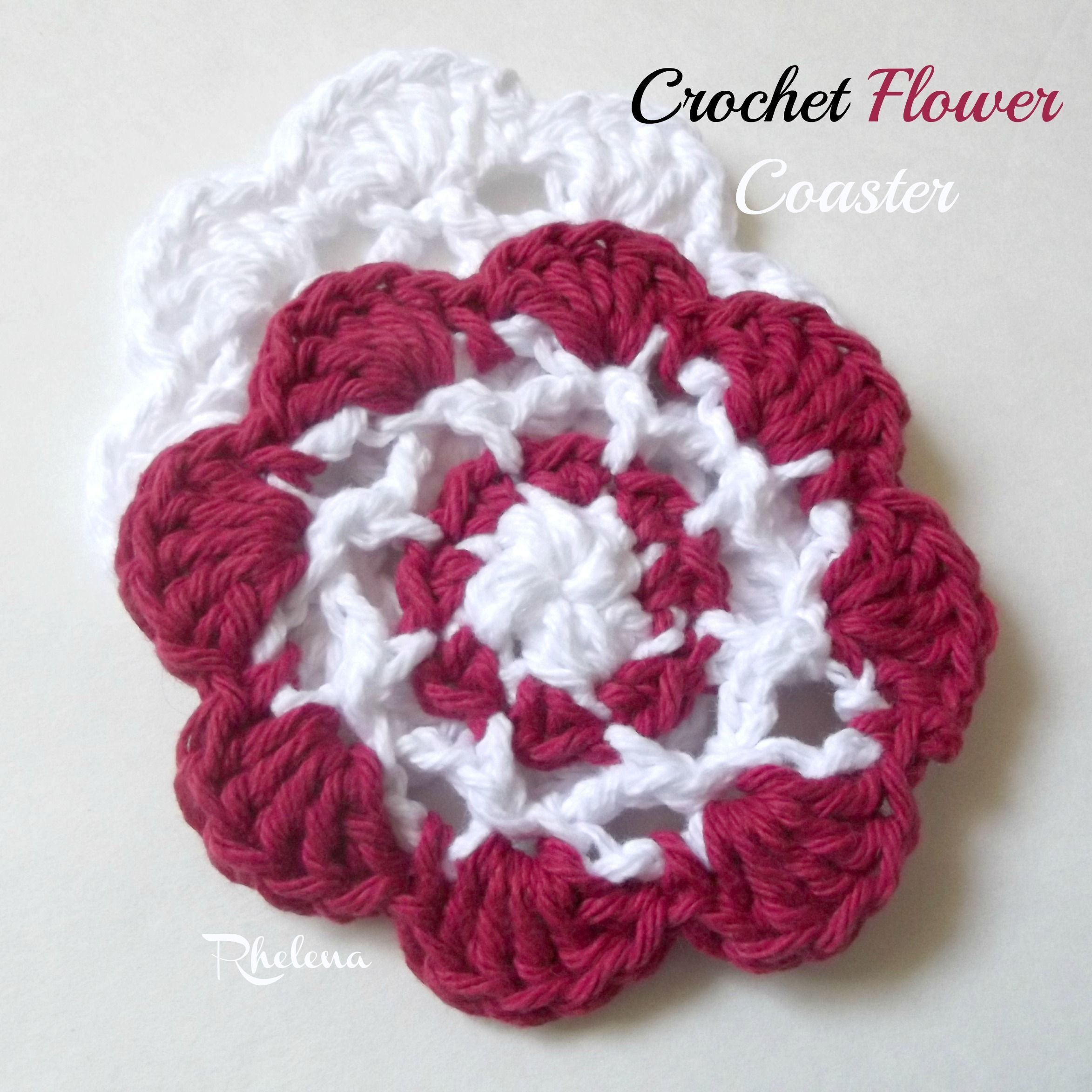 Free crochet pattern for the Crochet Flower Coaster. The finished ...
