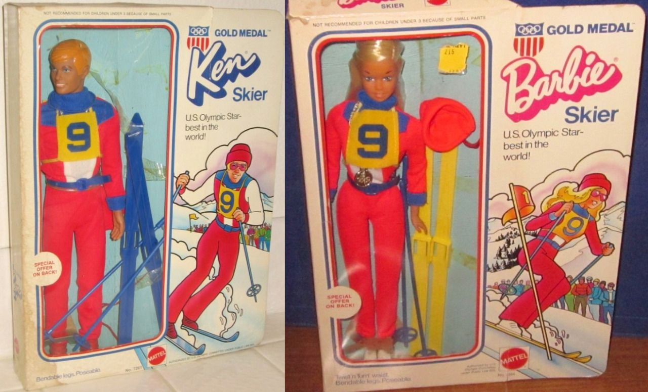 MATTEL: 1974 OLYMPIC GOLD MEDAL Ken and Barbie SKIER Dolls