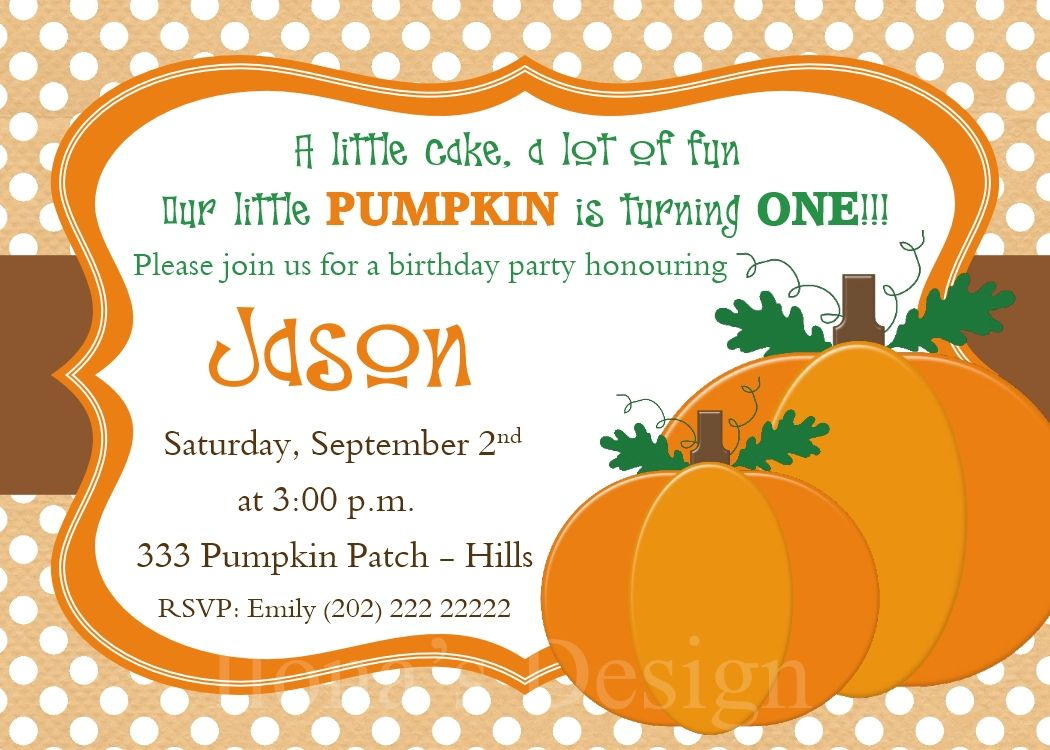 Pumpkin Invitations with Free Thank you card by Ilona\'s Design ...