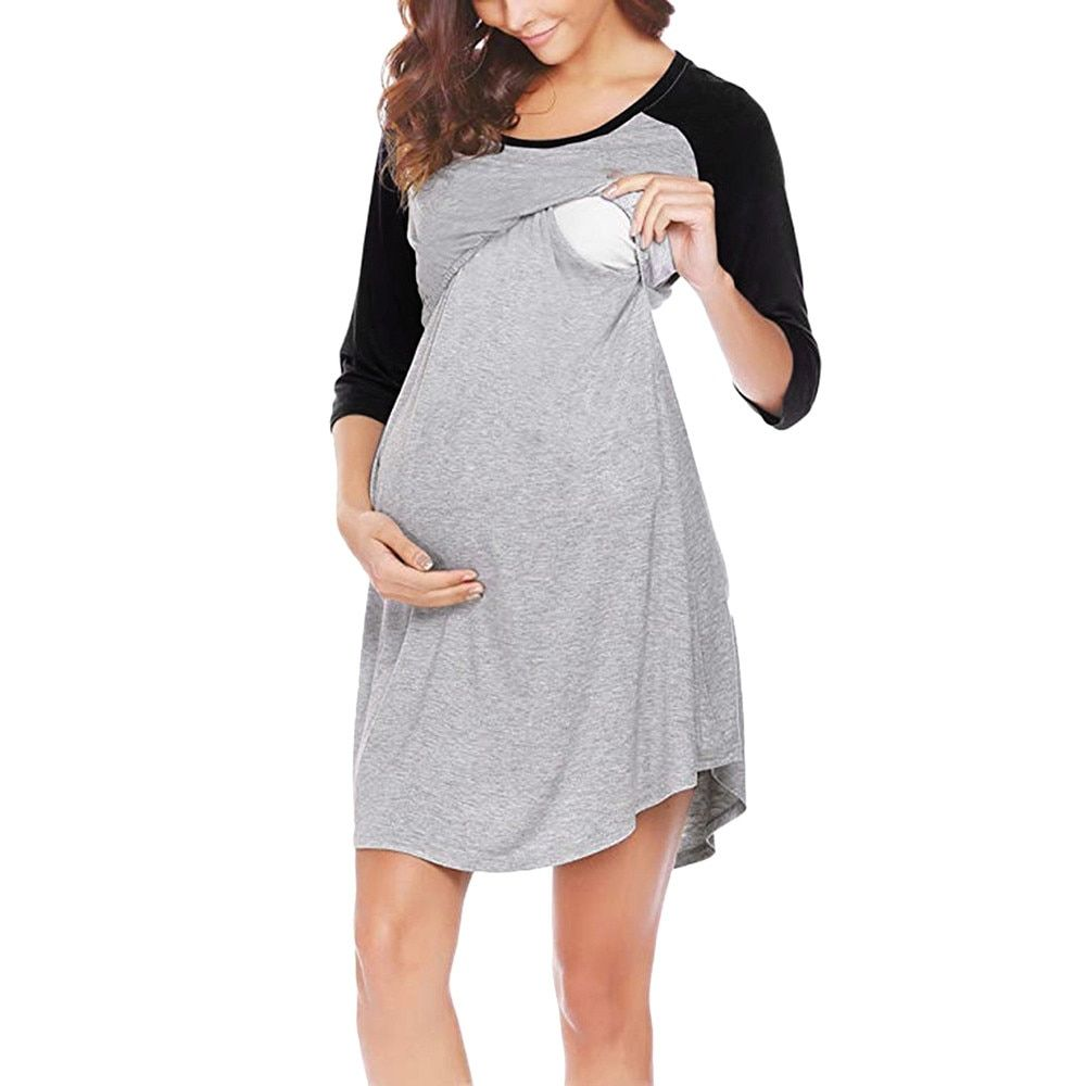 Maternity Dress,Women Mother Maternity Short Sleeve Nursing Baby Nightgown Breastfeeding Nightshirt Sleepwear Nursing Dresses Breastfeeding Dresses Nursing Pajamas Summer Sundress