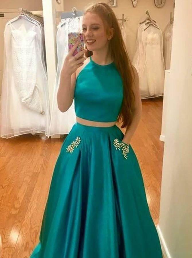 Beautiful Prom Dresses, Two Piece Round Neck Turquoise Satin ...