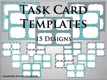 Make Your Own Task Card Sets With This Set Of Blank Task Cards 15 Designs Task Cards Tpt Math Card Templates