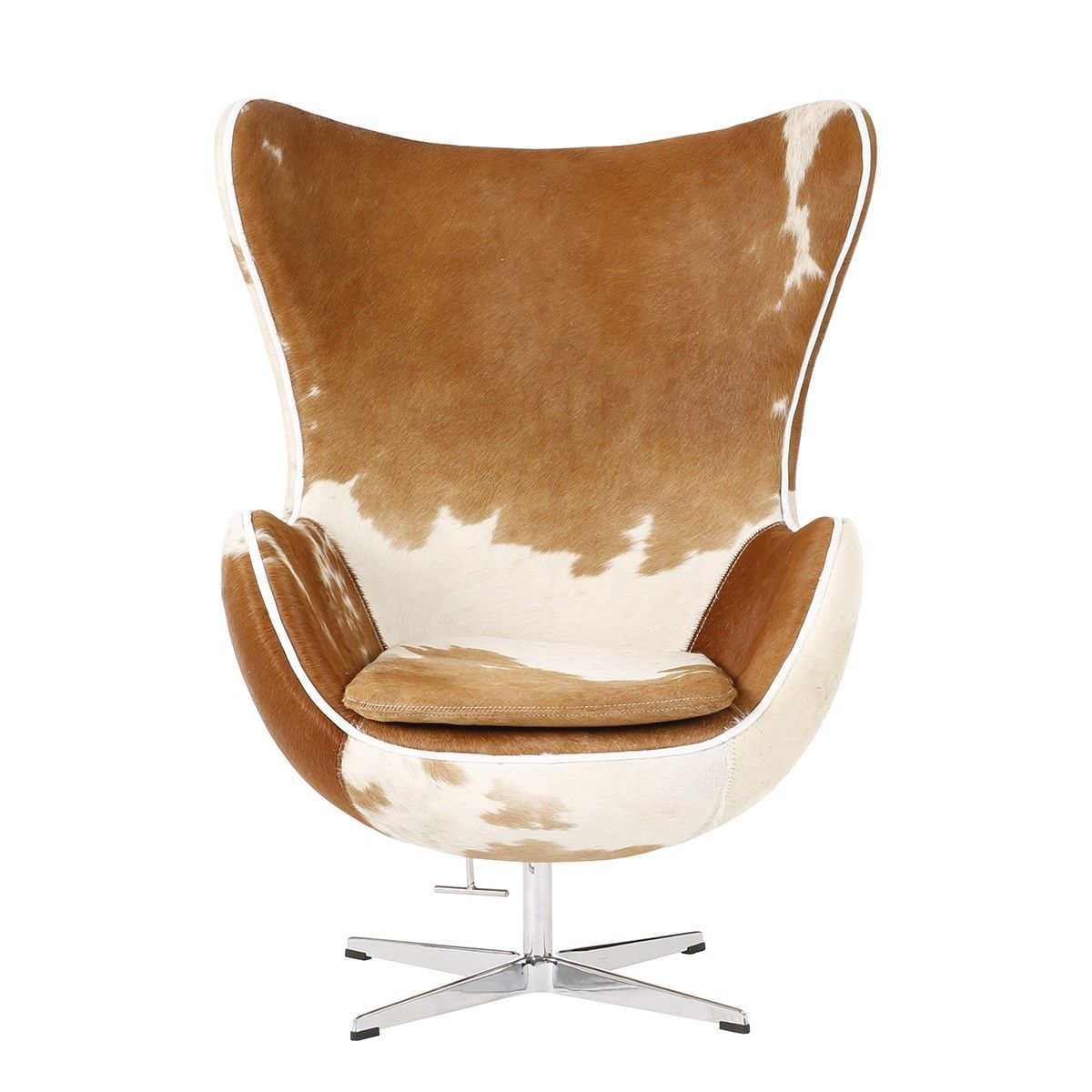 Egg Chair Covered With Pony Cowhide Leather And Aluminium