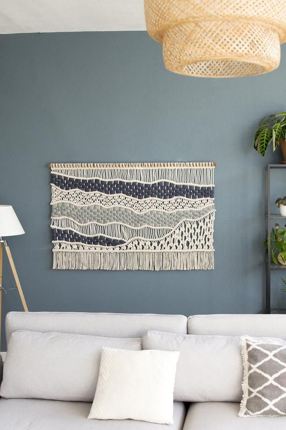 Macrame Wall Hanging Abstract Wall Art Blue And White