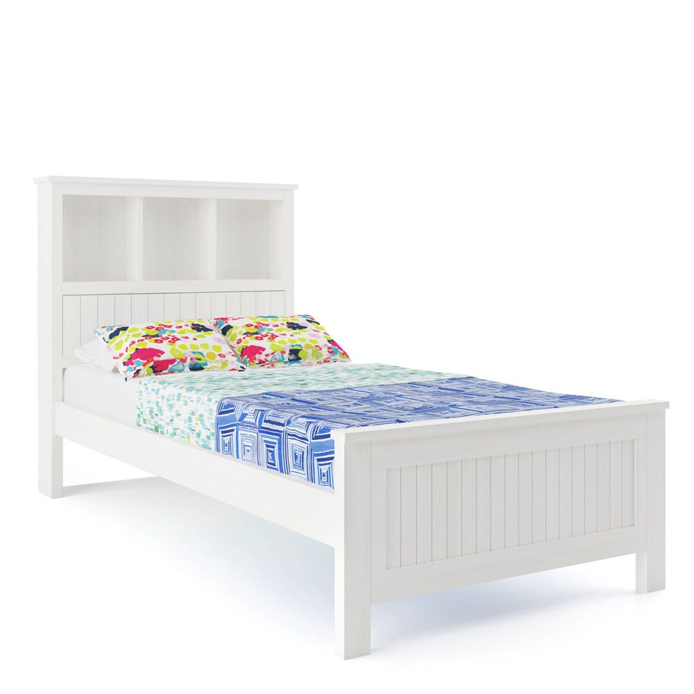 Livia Solid Pine Timber Bed with Storage King Single - White ...