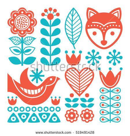 Finnish Inspired Folk Art Pattern Scandinavian Nordic Style Scandinavian Folk Art Polish Folk Art Pattern Art