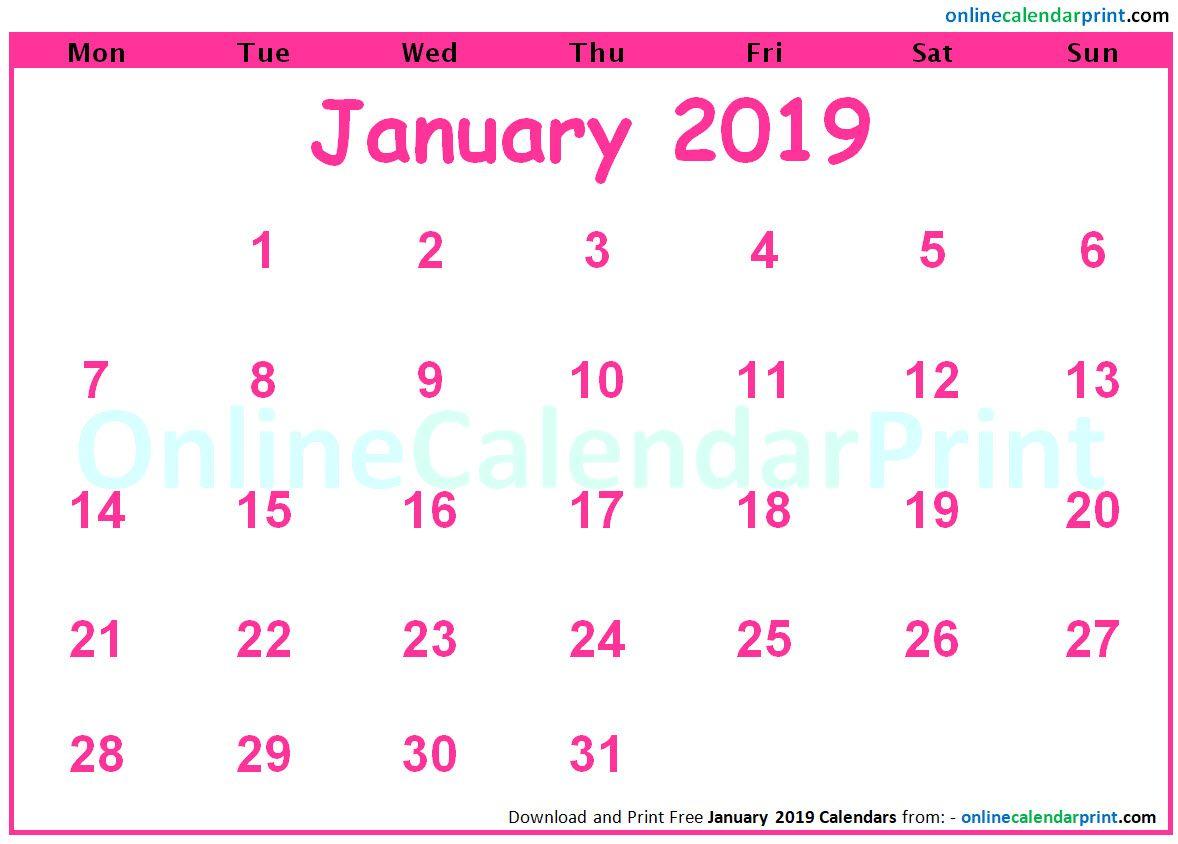 January 2019 Calendar Pink January 2019 Calendar Pink | Monthly Calendar Templates | January