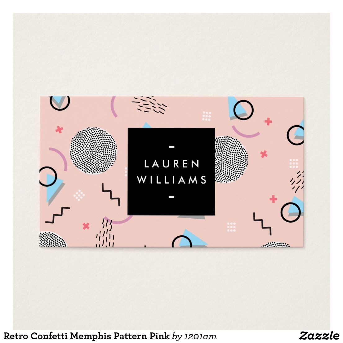 Retro Confetti Memphis Pattern Pink Business Card | Memphis pattern ...