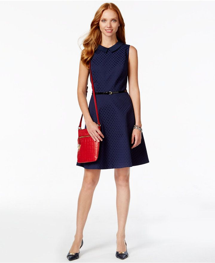 daffb4ee3e Tommy Hilfiger Navy Sleeveless Belted Fit and Flare Dress | Suits ...