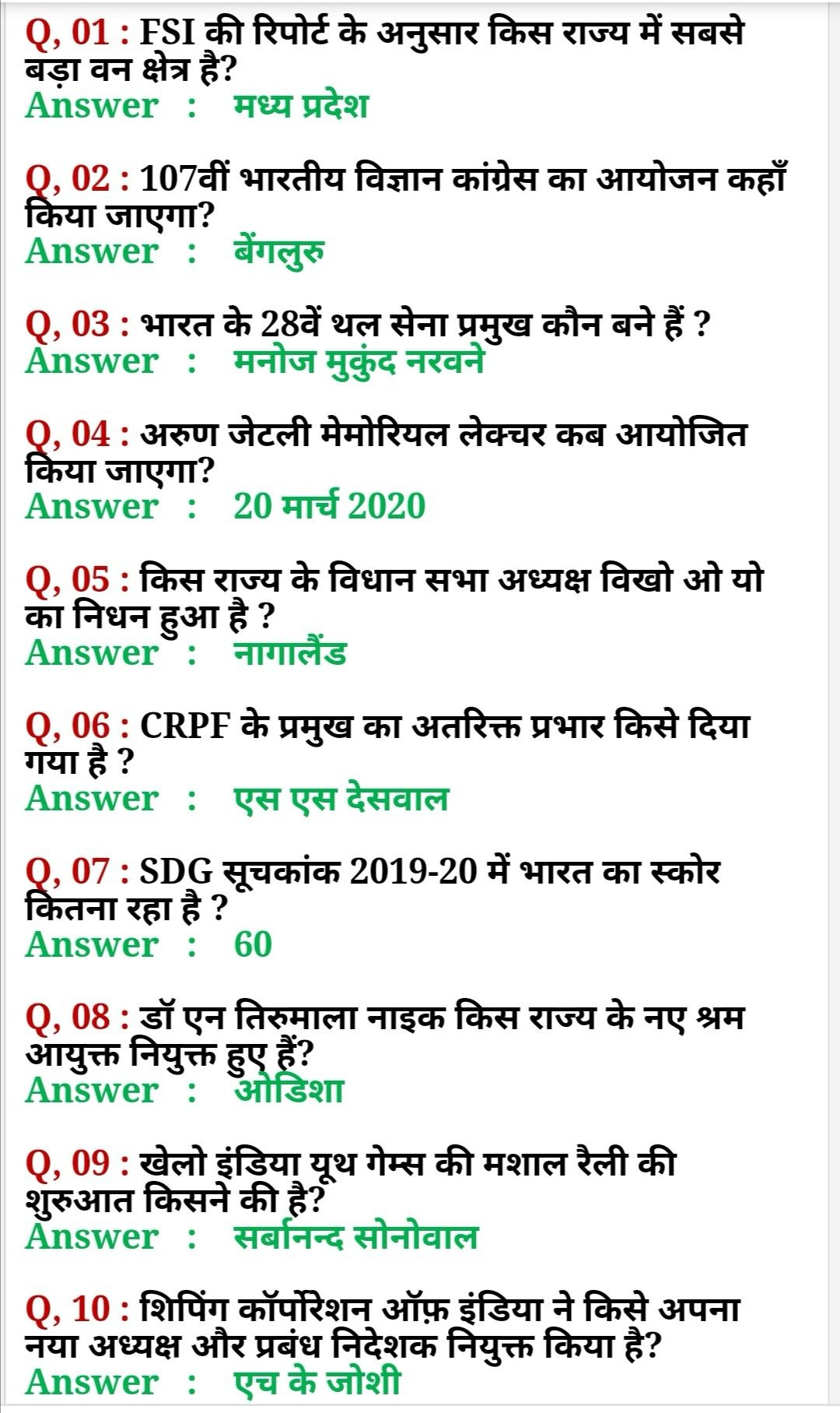 Current Affair 2020 In Hindi Gk Question And Answer Knowledge Essay Affairs