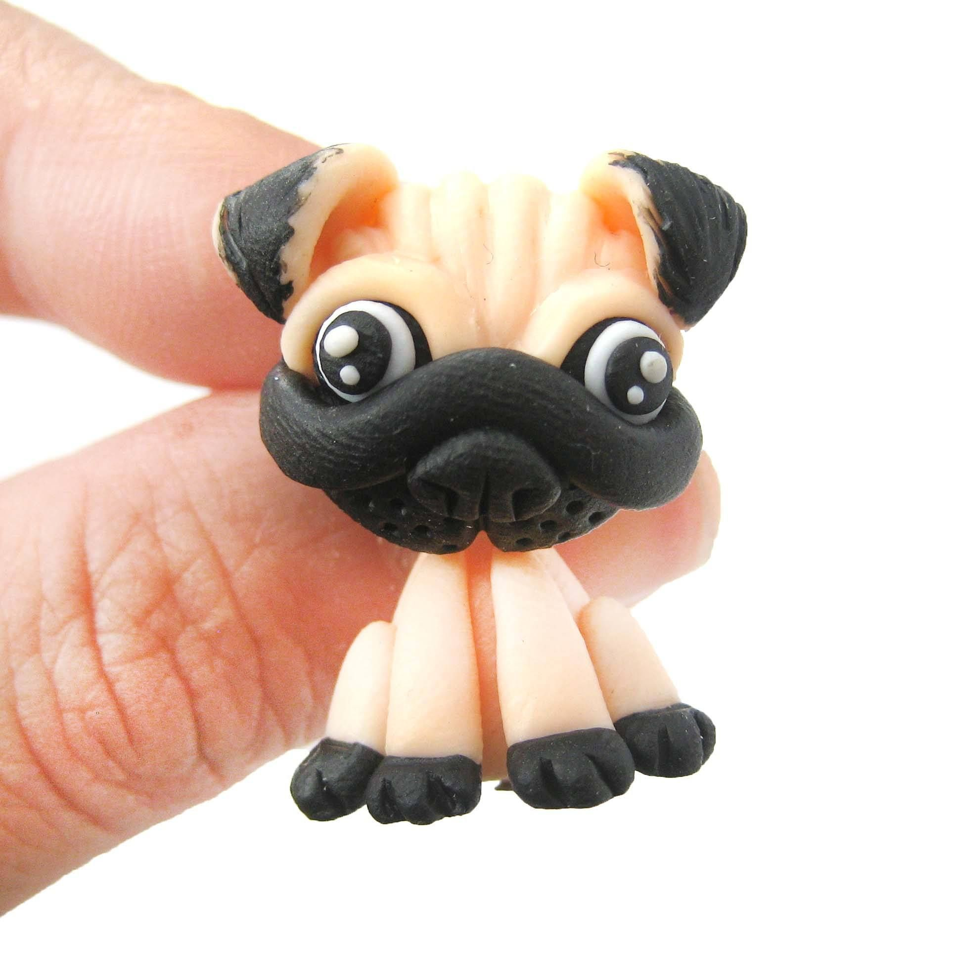 Handmade Pug Puppy Dog Fake Gauge Two Part Polymer Clay Stud