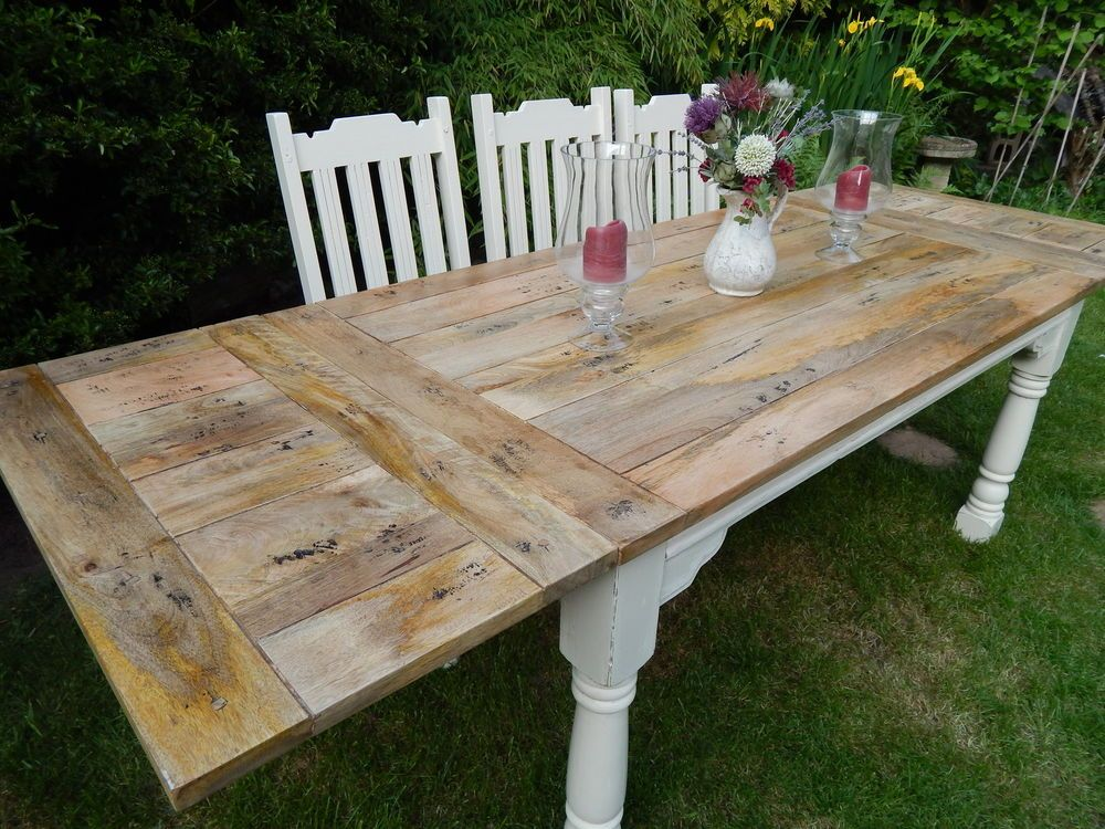 Large Rustic Oak Finish Farmhouse Kitchen Dining Table EXTENDING 8.5ft  Painted