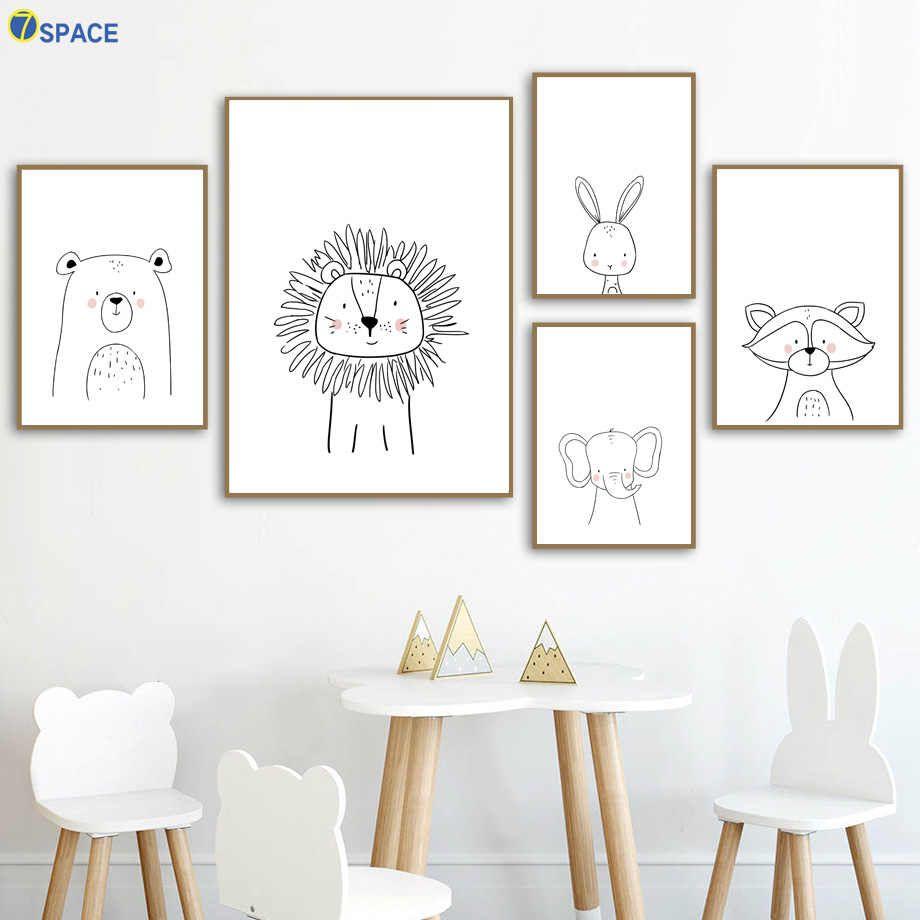 León conejo oso elefante mapache pared arte lienzo pintura carteles nórdicos e impresiones cuadros de pared de guardería bebé niños habitación Decoración| |   - AliExpress