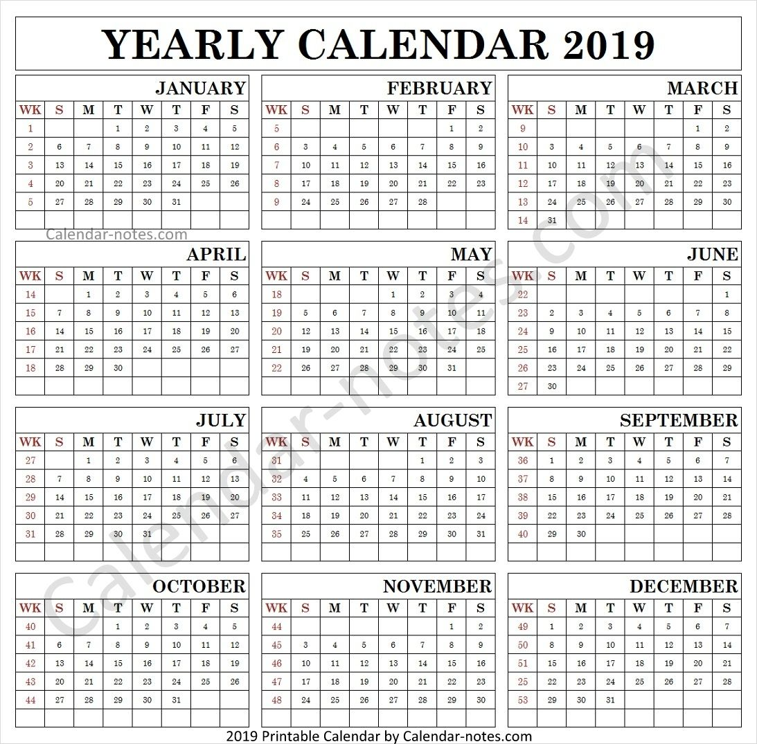 Calendar 2019 By Week Numbers Calendar 2019 With Holidays