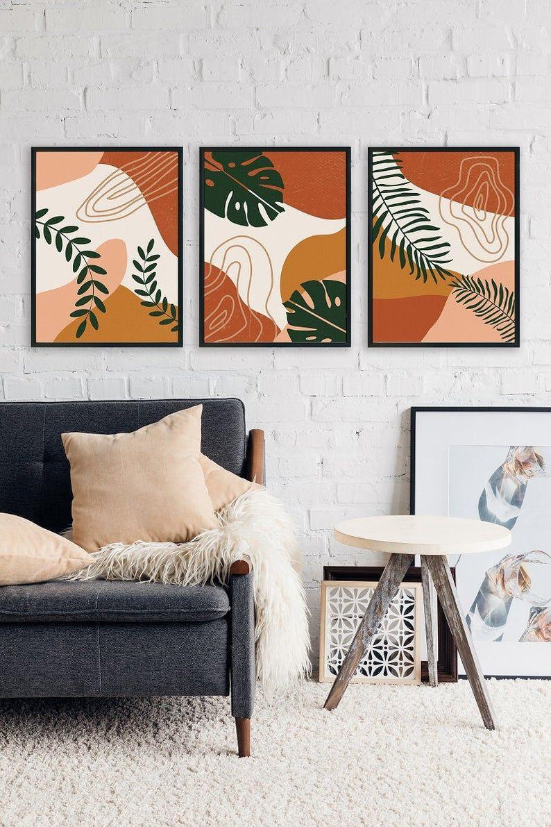 Set of 3 Prints Abstract Art For Gallery Wall, Printable Modern Art Poster Bundle, Minimal Botanical Print Set, Boho Print Set