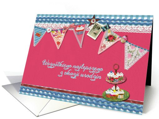 Happy Birthday In Polish Bunting Cupcake Scrapbook Style Card