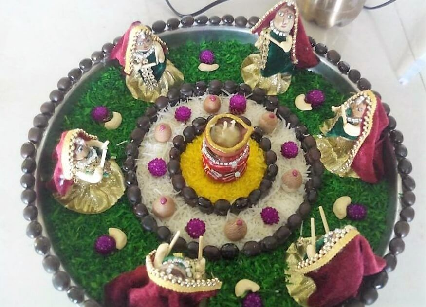 Navratri aarti thali decoration ideas decor sewing art for Aarti thali decoration with flowers
