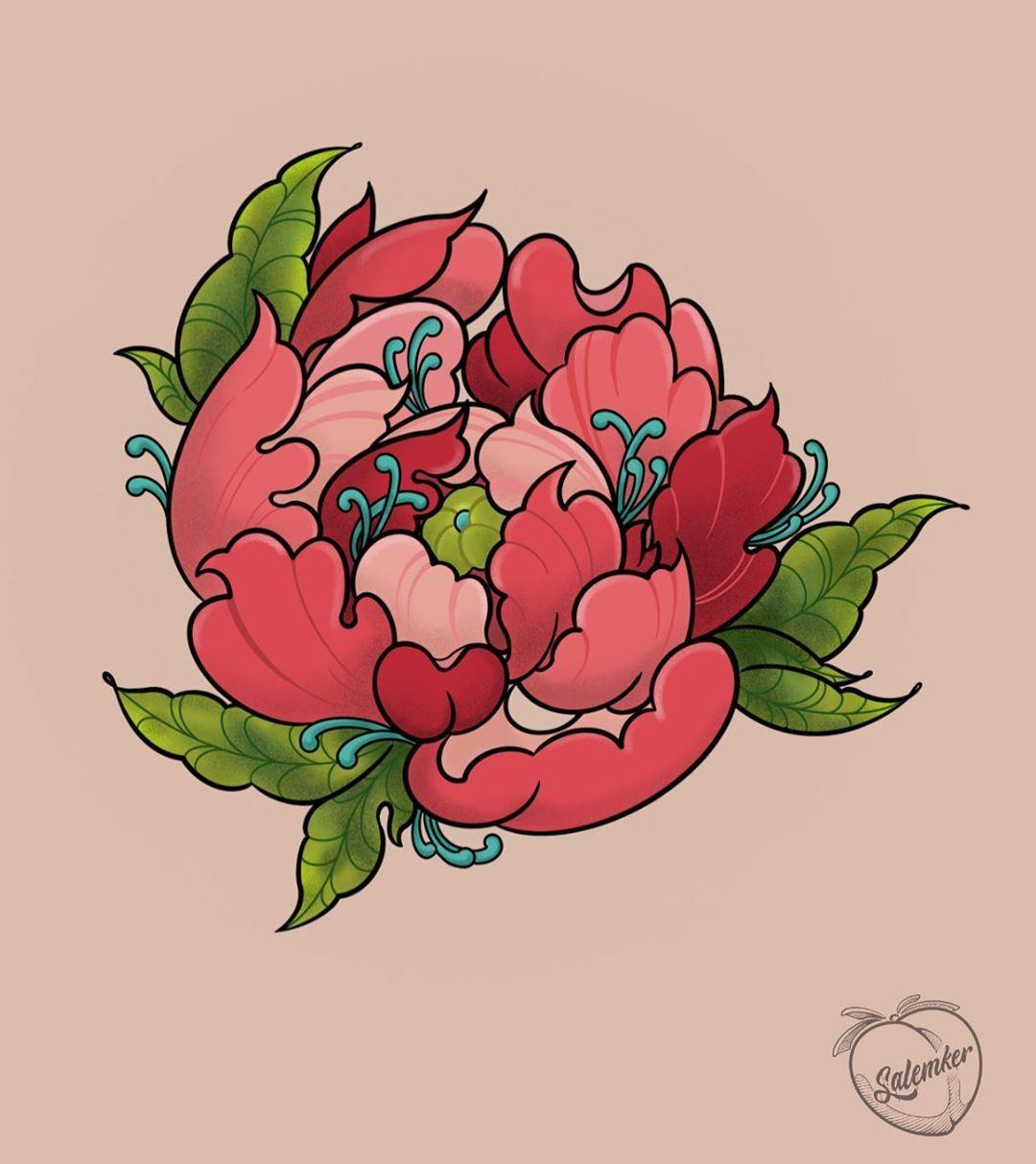 Una flor híbrida 🌺 . . . #peonies #peonias #peoniatattoo #peonytattoo #peony #peonytattoo #flowertattoo #neotraditional #neotraditionaltattoo #tattoo #flash #tattooflash #peachycolors #plants #draw #procreate #pink #petal #cdmx