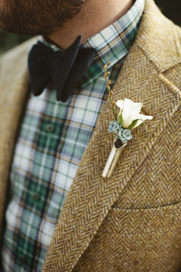 rustic groom look with plaid shirt in emerald