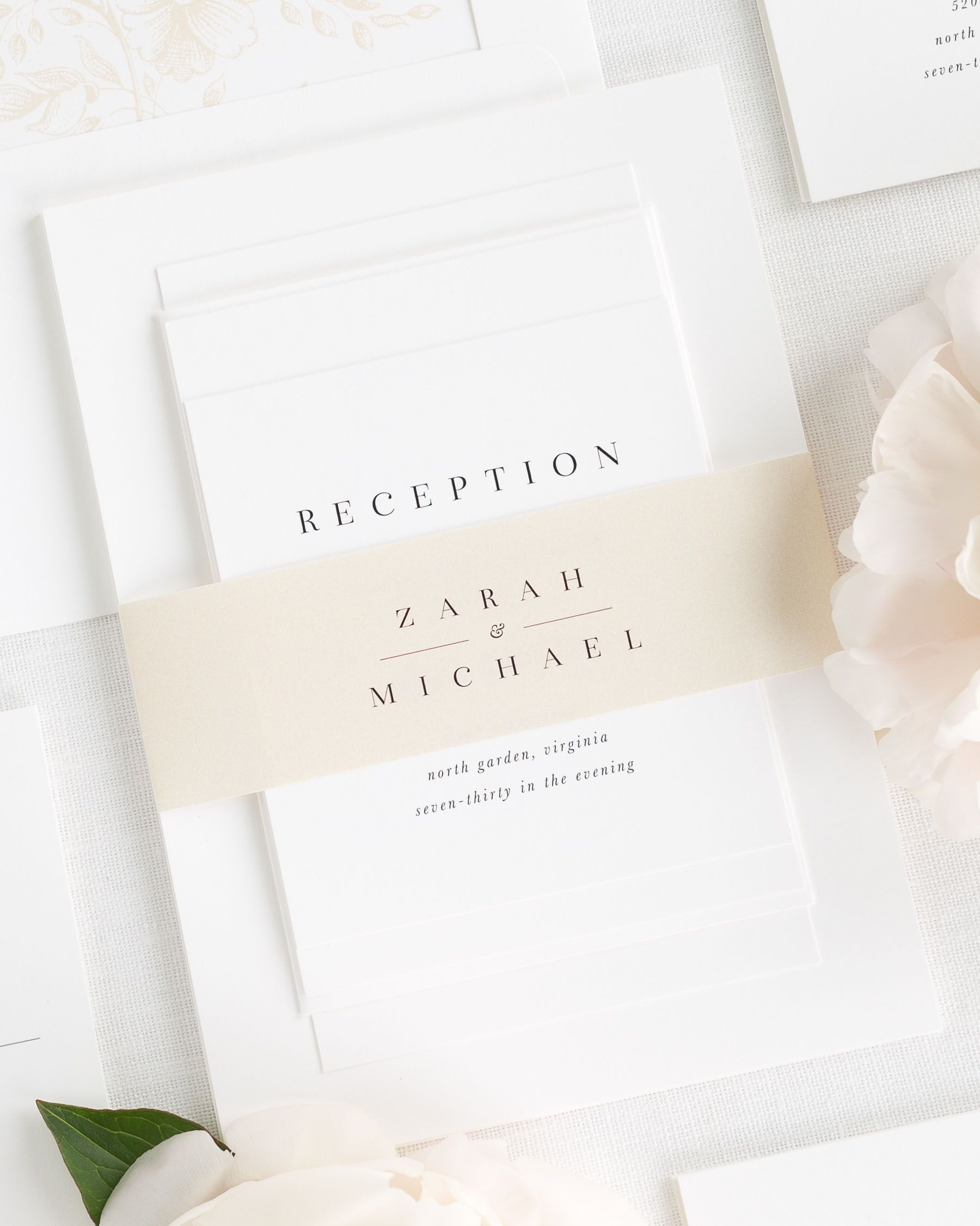 Zarah Wedding Invitations | Belly bands, Classic weddings and Champagne