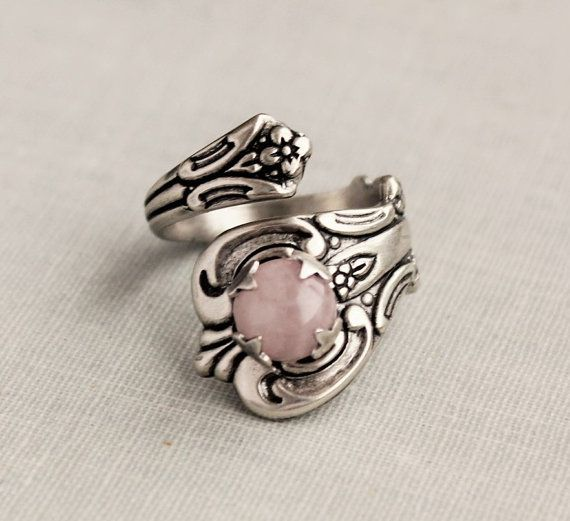 Rose Quartz Spoon Ring by WearitoutJewelz on Etsy