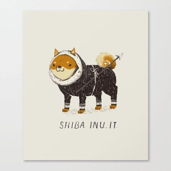 shiba inu-it illustration by illustrator Louis Roskosch, on Society6