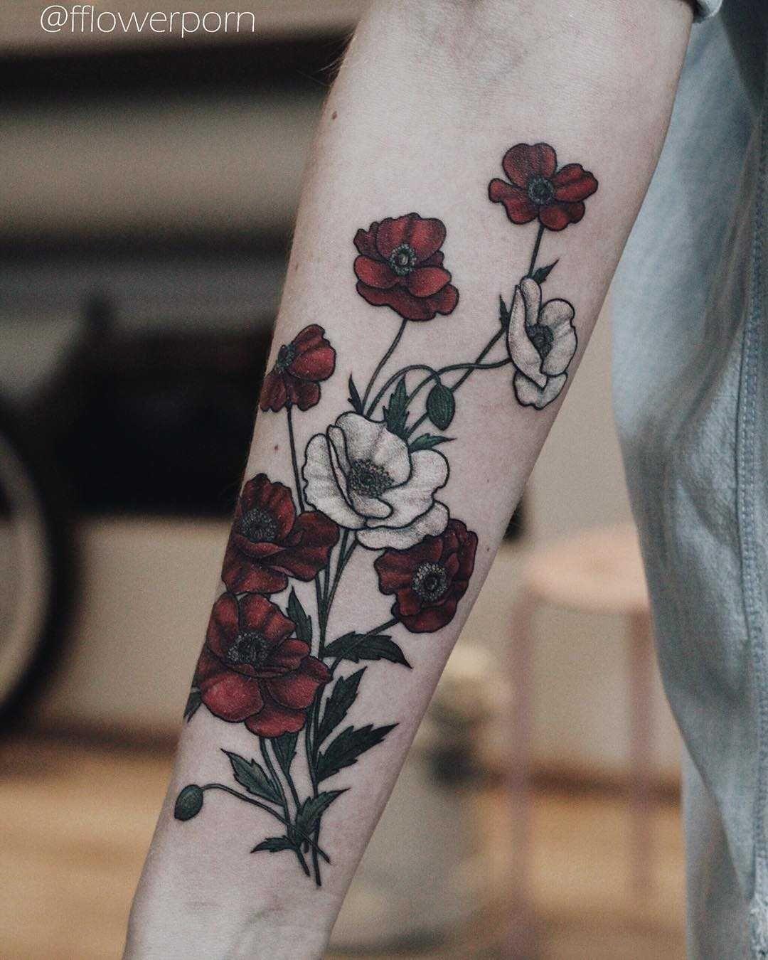 Bloody poppies tattoo - Tattoogrid.net