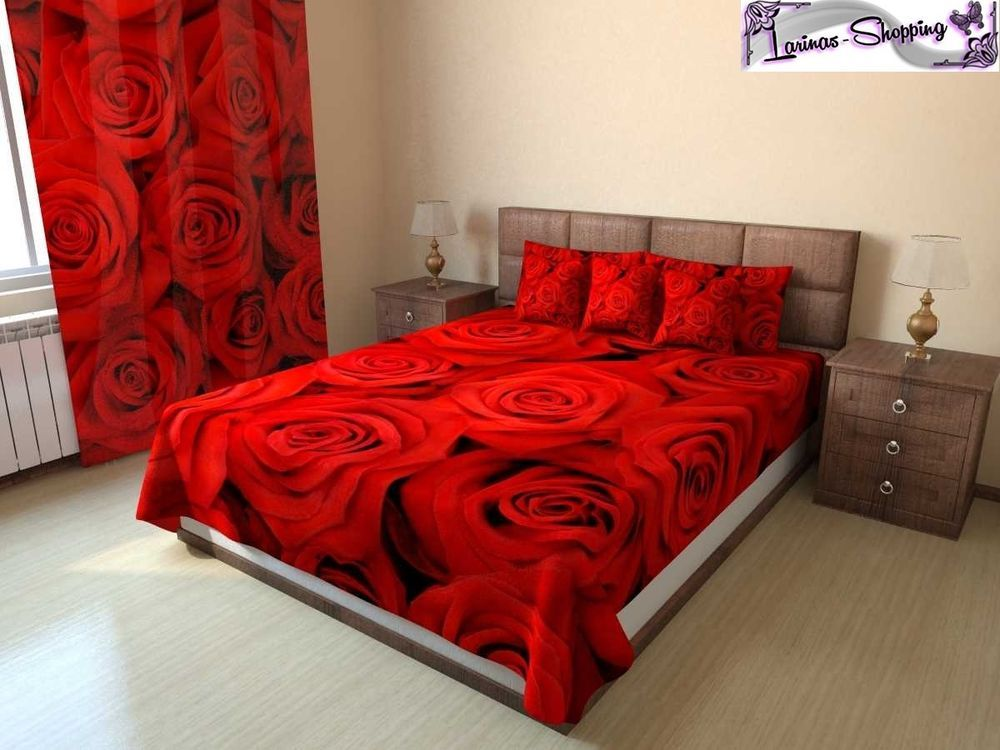 foto tagesdecke bett berwurf red rose digital 3d druck. Black Bedroom Furniture Sets. Home Design Ideas
