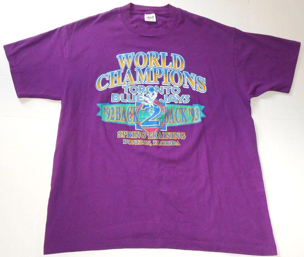 Vintage TORONTO BLUE JAYS World Champs 1992 1993 Purple T
