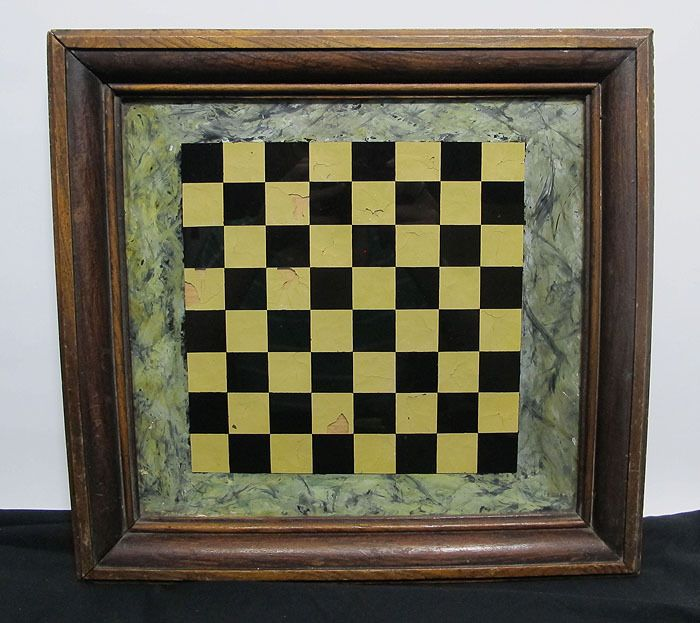 Antique 19th C Chess Game Board Reverse Glass Painting w/Original Pine Frame yqz