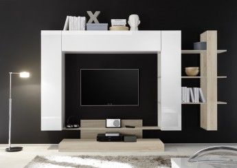Banc Tv Design Blanc Laque Chene Clair Camargue Parete Attrezzata Parete Pensili